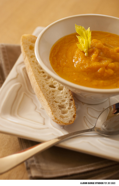 Squash soup and bread : food : JOHN BORGE STUDIOS Fargo North Dakota Photography Advertising, Public Relations