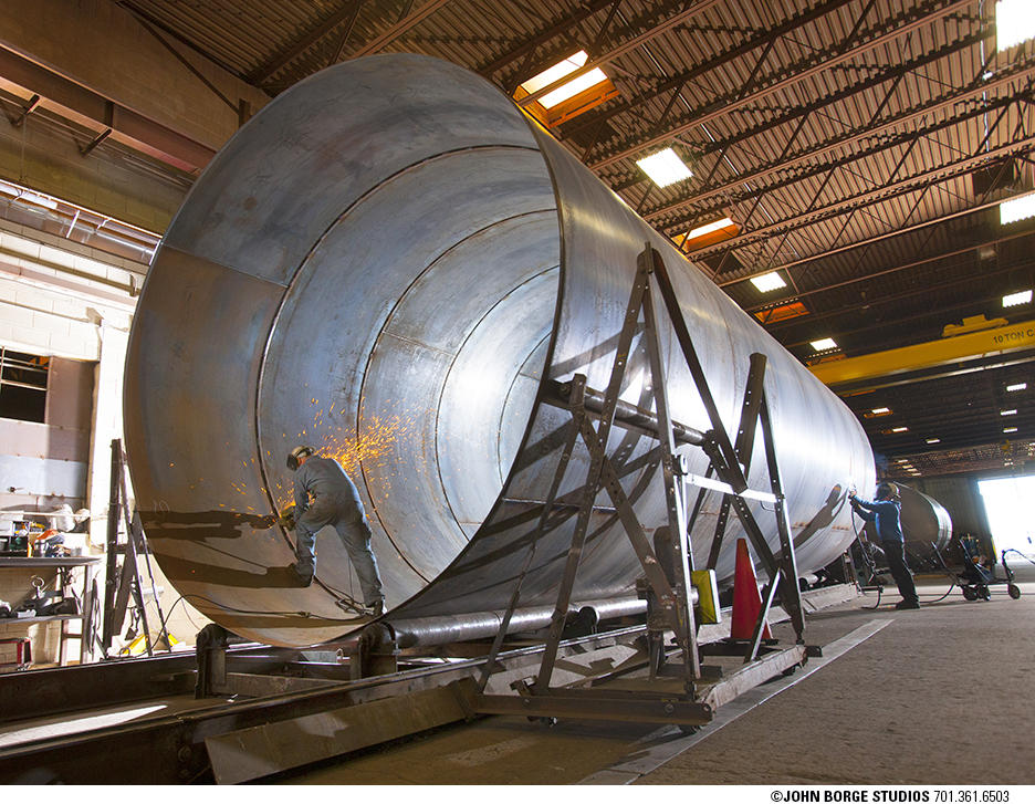 Steel tank production in Fargo, North Dakota : industrial : JOHN BORGE STUDIOS Fargo North Dakota Photography Advertising, Public Relations