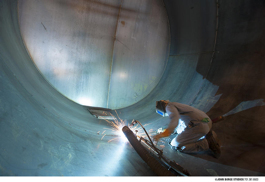 Steel tank welding in Fargo, North Dakota : industrial : JOHN BORGE STUDIOS Fargo North Dakota Photography Advertising, Public Relations