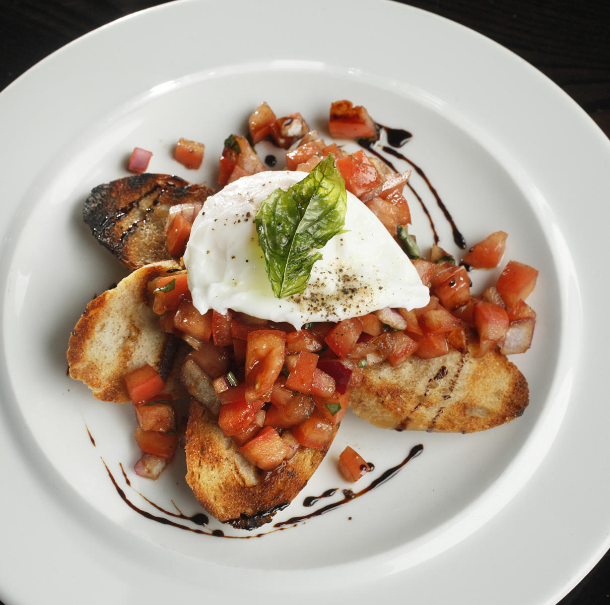 Bruschetta with a poached egg : food : JOHN BORGE STUDIOS Fargo North Dakota Photography Advertising, Public Relations